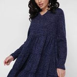 Теплое шерстяное ангоровое платье с пышной юбкой с рюшами Missy PL-1666В скл.8