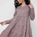 Теплое шерстяное ангоровое платье с пышной юбкой с рюшами Missy PL-1666А скл.8
