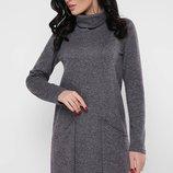 Теплое шерстяное платье с митацией удлиненных карманов. Платье Anastasia PL-1664B скл.8