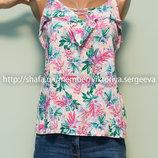 Безумно легкая блуза с рюшей и переплетами на груди вискоза