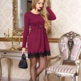 Кокетливое платье 8 цв Лотос из теплой ангоры-рубчик