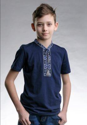 Футболка вышиванка для мальчика. вишиванка. Синяя, белая, р-р 92-134