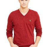 Бордовый свитер U.S. Polo Assn с V- образным вырезом. Оригинал с голограммой. размер XXL