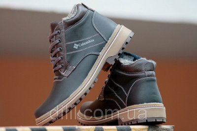 Ботинки мужские зимние кожаные черные - черевики чоловічі зимові шкіряні