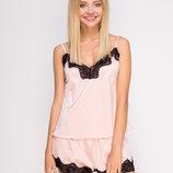 Комплект шелковый Serenade 2108 розовая пудра с черным кружевом майка и шорты