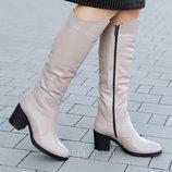 Женские зимние кожаные сапоги