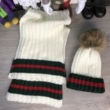 Комплект шапка шарф Gucci Winter Hat Knitted Pompon and Scarf Web Milky