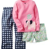 Новые комплекты Carters для девочки. В комплект входят реглан, штанишки и шортики.