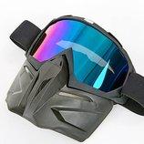Лыжная маска пол-лица 6828 лыжные очки линза хамелеон, акрил