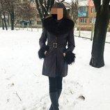 Куртка кожаная с мехом песец классика пальто зима демисезон мех