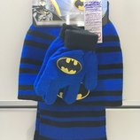 Набор на мальчика шапка перчатки шарф, демисезонный, BATMAN
