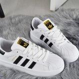 Женские белые кроссовки Adidas Superstar натуральная кожа