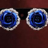 Серьги Цветок синие код 758