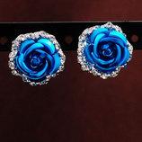 Серьги Цветок голубой код 758