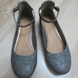 нарядные серебристые туфли, туфельки Marks&Spencer 2-ка. 34р