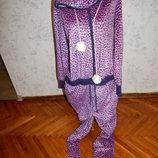 слип, пижама, человечек с капюшоном флисовый мягкий, тёплый р12