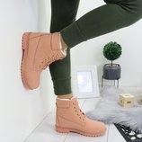 Новые зимние ботинки, цвет пудра