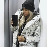 Женская зимняя куртка зефирка серебро