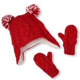 Комплект шапка и перчатки варежки краги для девочки 6-12мес Childrens Place