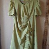 Горчичное платье с драпировками