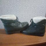 Ботинки на овчинке 38.5р 24.5 см стелька Кожа