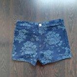Размер S Модные фирменные джинсовые шорты с завышенной талией