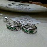 Шикарные маленькие сережки серьги колечки с малахитовыми цирконами,хром.позолота 750 проба