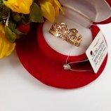 Шикарное кольцо Корона с фианитами Спаси и Сохрани ,позолота 585 пробы.Размер 17