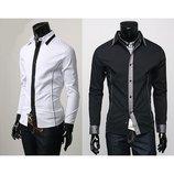 Рубашка мужская черная и белая - 255 грн