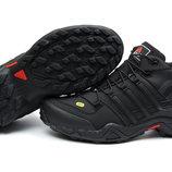 Кроссовки Adidas Terrex 465 Black мужские черные зимние с мехом