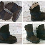 Зимние коричневые ботинки на спортивной подошве платформе -угги, натуральный нубук