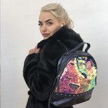 Модный женский рюкзак с пайетками черный, синий, бежевый