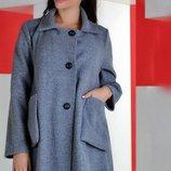 Пальто деми свободного кроя, размер универсал 44-48
