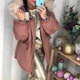 Куртка зимняя из коттона с мехом разные цвета