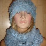 Шапка и шарф комплект из кролика новый.