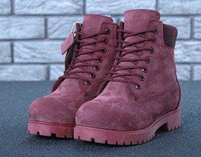 Женские бордовые зимние ботинки timberland натуральный мех 36 37 38 39 40 41 рр