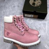 Розовые белые ботинки с термоподкладкой разные размеры в наличии