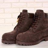 Коричневые мужские ботинки timbeland шерстяной мех 40 41 42 43 44 45 рр