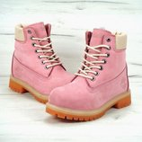 Женские розовые ботинки timberland искусственный мех 36 37 38 39 40 рр