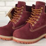 Красные женские ботинки timberland искусственный мех 36 37 38 39 40 41 рр