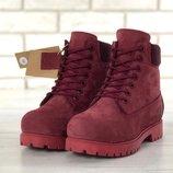 Бордовые женские ботинки искусственный мех timberland 36 37 38 39 40 41 рр