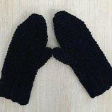 Варежки рукавицы вязаные ручная работа черные велюр новые handmade теплые зима
