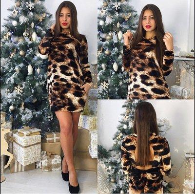 короткое леопардовое платье с-м единый