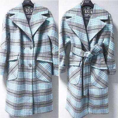 Кашемировое пальто в клетку демисезон 44-52 серо-голубое