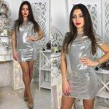 2 цвета короткие коктельные платья золото и серебро пайетки