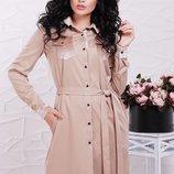 Стильное платье-рубашка ткань каттон-мемори Prestige PL-1524C скл.8