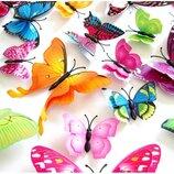 Декоративные наклейки 3Д бабочки с двойными крылышками