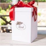 Подарочная коробка для розы в колбе Lerosh - 27 см, Белая