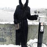 Шуба легкая Натуральный мех Нутрии, длинное пальто с разрезами и капюшоном 46 48 М