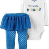 Боди Штаны с юбкой Carters для девочки. Комплект двойка. 119G389